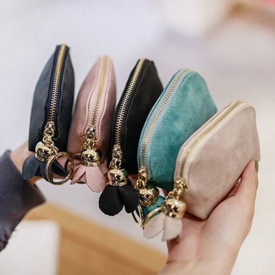 New Women/'s PU Leather Mini Wallet Card Key Holder Zip Coin Purse Clutch Bag