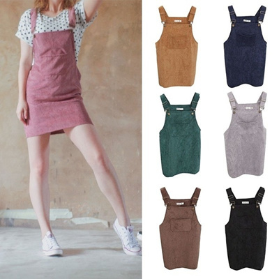 b72ad260821 Qoo10 - Women Retro Summer Sundress Overall Vest Dress Corduroy Suspender  Skir...   Kids Fashion