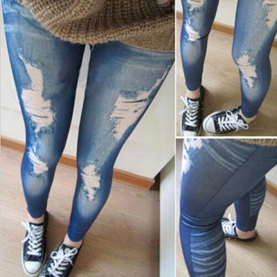 79617fcdfd022 Qoo10 - Women Ripped Denim Jean Look Skinny Leggings Slim Jeggings Trousers  Bl... : Men's Clothing