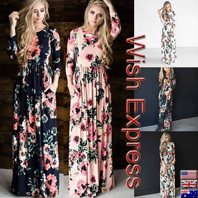 99a70795bd39 Qoo10 - Women Rose Print Dresses O-Neck 3 4 Sleeve Tunic Long Dress ...