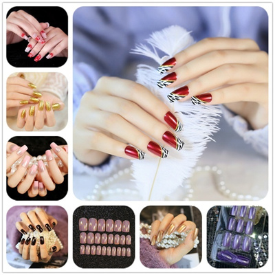 Women S Fashion Manicure False Nail Tips Dark Microflash Fake Nails Patch Grey Pretty Acces