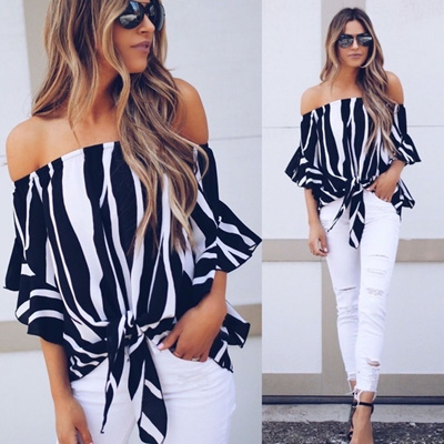 ce215fbea47ad7 Qoo10 - Women s Striped Off Shoulder Bell Sleeve Shirt Tie Knot Casual  Blouses...   Women s Clothing