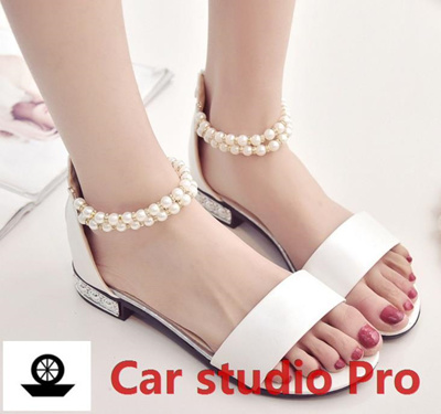12f91e22df0 Qoo10 - Women Sandals Diamond Pearl Beaded Beach Slippers Fish Head Flat  Sanda...   Shoes