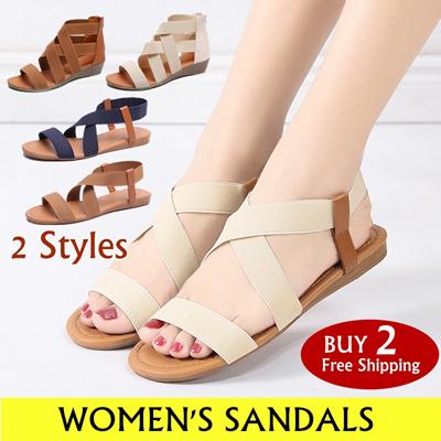 80e96e96fc Women sandals Summer Beach Roman Elastic Band Sandal Ladies Shoes Anti  Skidding Casual Sandal