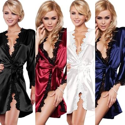 0dc8ff22b9 Qoo10 - Women Sexy Bath Robe Dress Ladies Lingerie Sexy Sleepwear Silk  Nightwe...   Women s Clothing