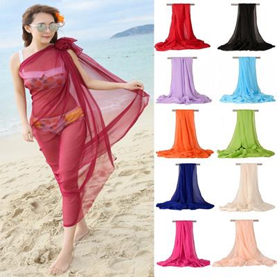 abf251aeda Women Sexy Chiffon Wrap Dress Sarong Pareo Beach Bikini Swimwear Cover Up  Scarf