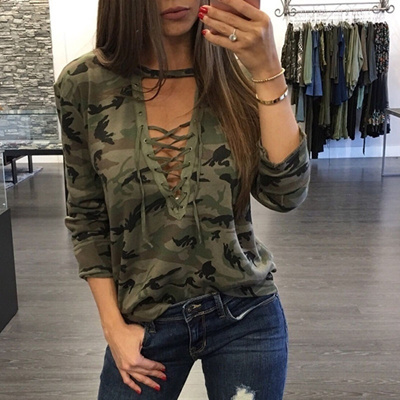 a221113a452 Qoo10 - Women Sexy Lace up Long Sleeve T-Shirt Slim Casual Camouflage Print  To...   Women s Clothing