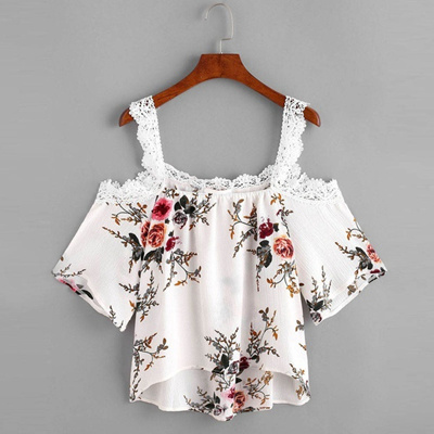 Qoo10 Women Short Sleeve Off Shoulder Lace Floral Blouse Casual
