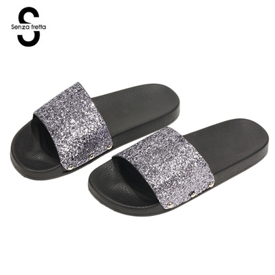94147490e3f7 Qoo10 - Women Slippers Flip Flops Peep Toe Sandals Glitter Slippers Sandals  P...   Shoes