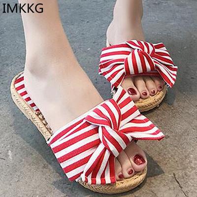 d4392bb58 Qoo10 - Women Slippers Silk Bow Slides Summer Beach Shoes Woman Slippers  Flat ...   Shoes