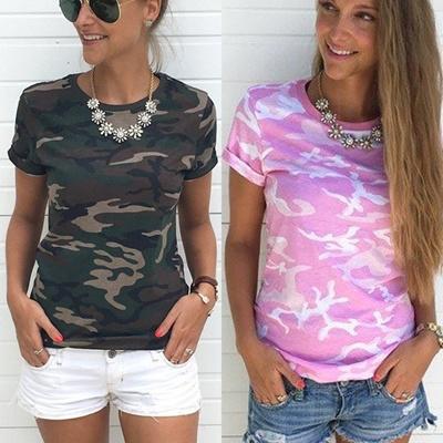 f420e8fae12 Qoo10 - Women Summer Camouflage Army Green T Shirt Short Sleeve Casual T- Shirt   Women s Clothing