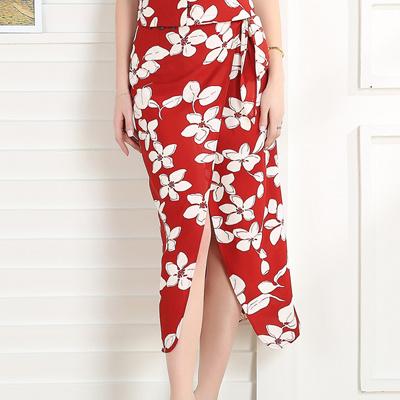 873c18f05b Women Summer Chiffon Wrap Skirt Red Floral Print Side Split Female Midi  Skirt Elegant Casual Sexy
