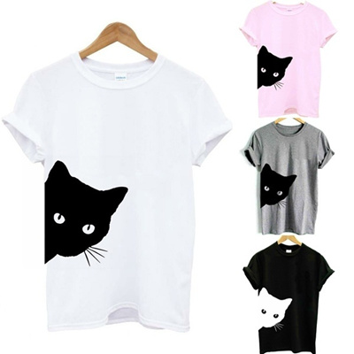 b523ce06 Qoo10 - Women Summer Fashion Cat Print T Shirt Casual Short Sleeve Summer  Tops... : Computer & Game