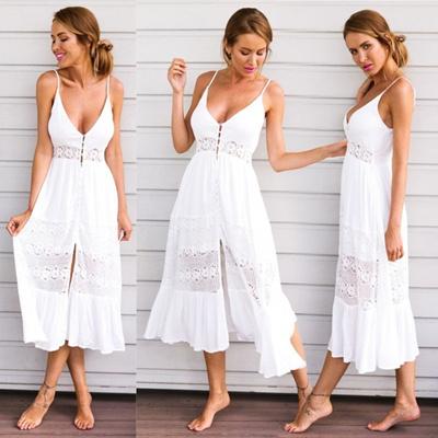 cb5a065e50c Qoo10 - Women Summer Vintage Boho Long Maxi Evening Party Beach Dress Floral  S...   Women s Clothing