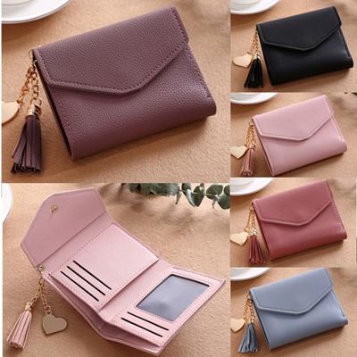 8960afbc9e9 Women Tassel Small Mini Wallet Card Holder Clutch Coin Purse Leather  Handbag Purse