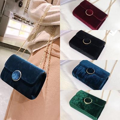 6c86ec84c863 Qoo10 - Women Velvet Retro Shoulder Bag Messenger Cross Body Bags Handbag  Gold...   Watch   Jewelry