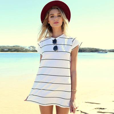 4e51a885cd Qoo10 - Women White Short Sleeve Striped Casual Long T Shirt Sexy Mini Dress  S...   Women s Clothing