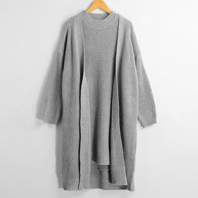 Women Winter Sweater Cardigan Pullover Knitted Dress Two-piece Sweater Set  Grey/Light Grey/Khaki