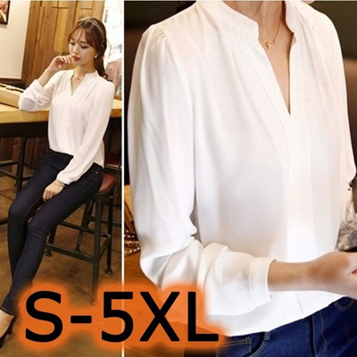 Qoo10 - womens chiffon blouse ladies candy color elegant v-neck blouses long  s...   Women s Clothing 53560474f5c2