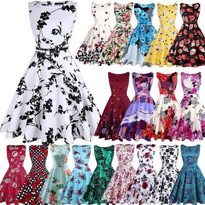 063e2c5f3d Qoo10 - Womens Elegant Vintage Floral Print Sleeveless Rockabilly 1950s  Retro ...   Women s Clothing