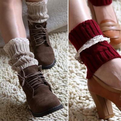 Women Winter Warm Crochet Knitted Fur Trim Boot Cuffs Toppers Leg Warmers Sock Q