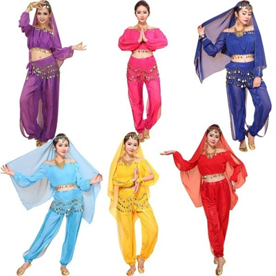 Womens New Belly Dance Costumes Set Indian Dancing Dress Clothes Top Pants  Colorful