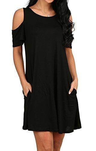 c67a5f921ef83 Qoo10 - Womens O Neck Cold Shoulder Off T-Shirt Loose Tops Black L ...