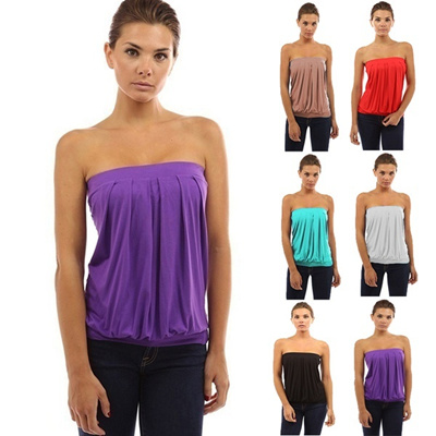 352b624a8f Qoo10 - Womens Pleated Tube Top Sexy Off Shoulder Ruched Sleeveless T-shirt  Wo...   Women s Clothing