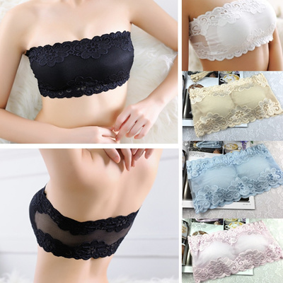 106862b36b777 Qoo10 - Womens Sexy Lace Casual Crop Boob Tube Top Strapless Seamless Solid  Bl...   Underwear   Sock.