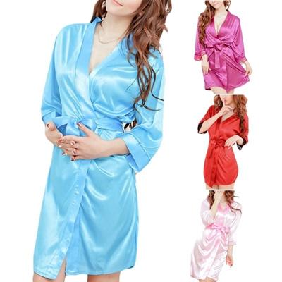 Womens Short Kimono Style V-Neck Bathrobe Plain Dressing Gown Bridal Party  Robe JES 3df0f373cb38