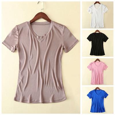f896b50e757c64 Qoo10 - Womens Silk Short Sleeve V Neck T-shirt Ladies Plain Top Tee Shirt  Fas...   Stationery   Sup.