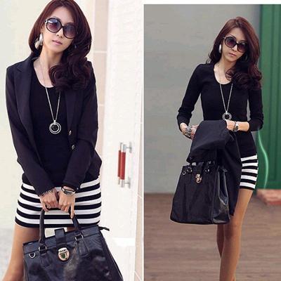 d9025cc876 Qoo10 - Womens Stripe Long Sleeve Dress Women Korean fashion Ladies Slim  Sexy ...   Women s Clothing