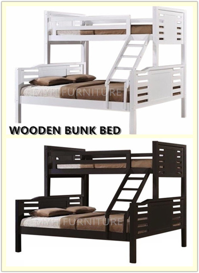 Qoo10 Wooden Bunk Bed Queen Size Single Size Furniture Deco