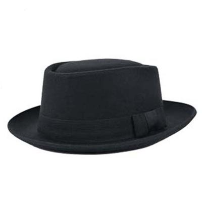 Men Women Wool Felt Round Cap Crushable Porkpie Vintage Short Brim Hat