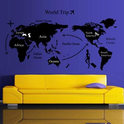 world map trip black simple diy wall wallpaper stickers art decor mural room decal