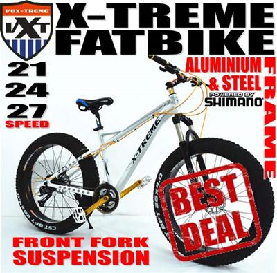 Qoo10 - X-TREME Fat Bike Aluminium or Steel Frame Mountain Bike With ...