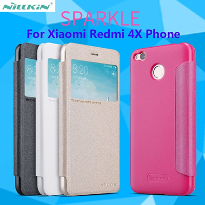 uk availability a5868 436bc Xiaomi Redmi 4X Leather case Redmi 4X Flip cover Nillkin new leather case  Flip back cover case free