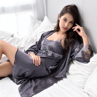 37bf57c07e98 Qoo10 - Xifenni Robe Sets Female Faux Silk Sleepwear Women Sexy Satin Silk  Nig...   Underwear   Sock.