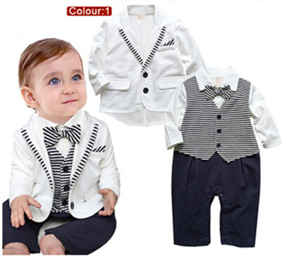 fc4c643a8c08 Xmas Christmas SALE CNY Baby Boys  Girls Gentleman Tuxedo romper  pajamas  Sleepwear
