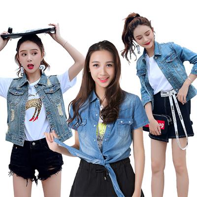 34e8101b059ef  NEW Fashion Slim Hole Denim Jacket Women Jeans Blouse Female Short  Sleeveless Denim Vest