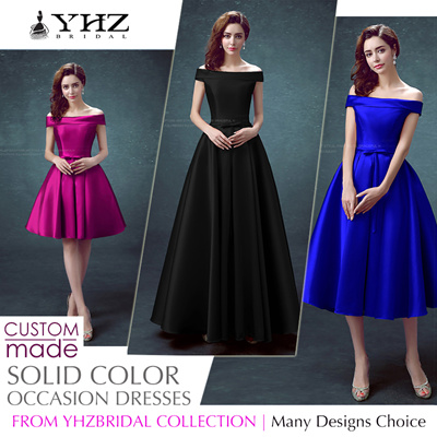 3eee8d8a5 Fashion Black Satin Knee-Length Bridesmaid Dress Purple Tea-Length Cocktail  Dress Pink Floor