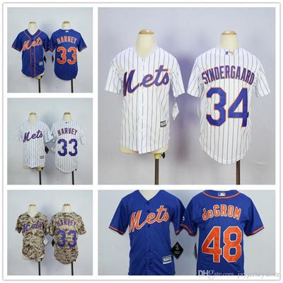best service 1711c 58dfc Youth New York Mets Jersey Baseball MLB Kid Boys Matt Harvey Noah  Syndergaard Jacob DeGrom Blue Whit