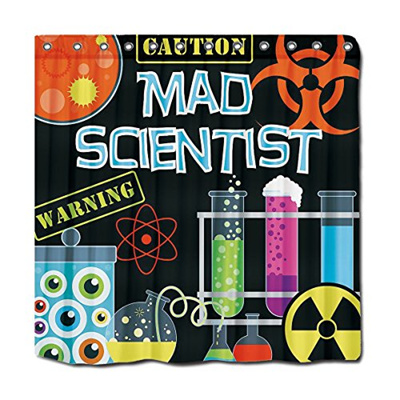 YYT Personalized Shower Curtains Science Lab Mad Scientist Kids Curtain 72X72