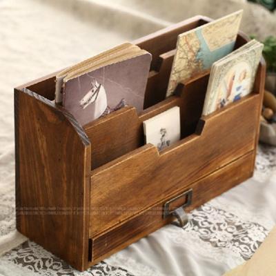 Z Grocery Postcard Folder Do Old Vintage Wood Finish Desktop Organizer Box