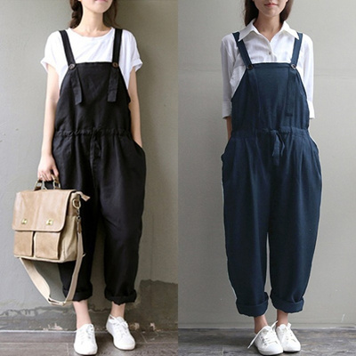 3e751ea2ac5193 ZANZEA Vintage Women Summer Loose Baggy Trousers Jumpsuit Playsuit Overall  Pants