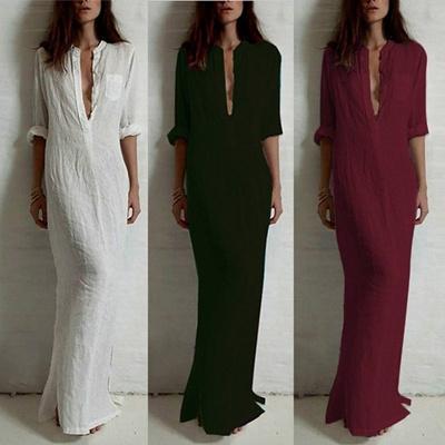 Qoo10 Zanzea Women Cotton Pencil Maxi Dress Evening Party Dresses