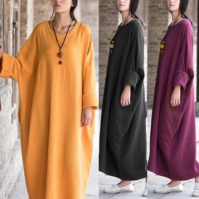 b57a80ce54ddfc Qoo10 - Zanzea Women Crewneck Batwing Long Sleeve Tunic Baggy Loose Maxi  Dress...   Women s Clothing