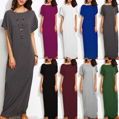f296aab13dba8c Qoo10 - Zanzea Women Vintage Batwing Short Sleeve Tunic Baggy Long Dress  Kafta...   Women s Clothing