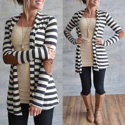 9649b4868052d8 Qoo10 - Zanzea Women Vintage Waterfall Striped Long Sleeve Open Front  Cardigan...   Women s Clothing