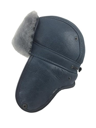 20ee9beab11 Qoo10 - Zavelio Mens Shearling Sheepskin Aviator Russian Ushanka with Snap  Hat   Men s Bags   Shoes